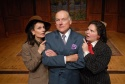 "Newspaper publisher Kay Thorndyke (left, played by Paula Faber), political kingmaker Jim Conover (center, played by Tom Roberts) and journalist Sally ""Spike"" McManus (right, played by Margaret Melozzi) scheme to win the presidential nomination"