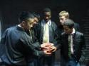 Brion Rock (center) as Bernardo, with Minh Nguyen, Albert Wong, Patrick Abberton and  Photo