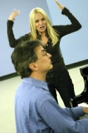 Rob Fisher (at Piano) and Kristin Chenoweth in rehearsals for the Encores! production of The Apple Tree.