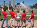 John Hickman, Jake Speck, Tonya Wathen, John Michael Dias and John Michael Coppola in 'front' of the Buckingham Fountain landmark.