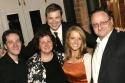 Melissa Rauch with parents Susan & David Rauch, brother Ben Rauch (left), and boyfriend Winston Beigel (back)