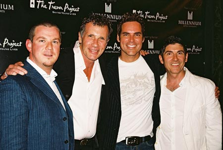 Diarmaid B. O'Sullivan (Millennium Hotels & Resorts, Regional Director of Marketing), Michael Cunningham (Receipient of the 2006 Trevor Hero Award), Jorge Valencia and James Lecesne at Trevor Project's A Totally Funny Whatever
