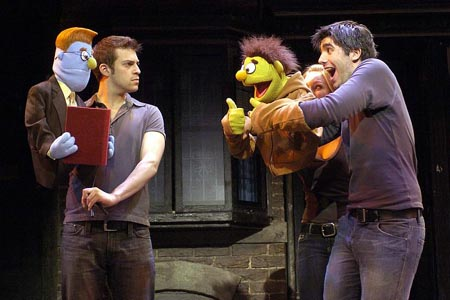 Jon Robyns as Rod, and Clare Foster and Simon Lipkin as Nicky at Avenue Q Opens in London