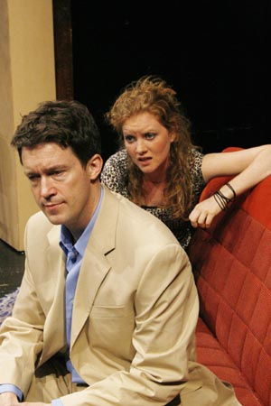 Patrick Melville (as Paul) and Wrenn Schmidt (as Jenny) at Off-Broadway's Crazy for the Dog