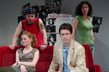 (sitting, left to right) Wrenn Schmidt and Patrick Melville; (standing, left to right) Ryan Tramont (as Kevin) and Christine Verleny (as Sarah)