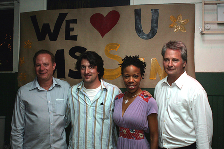 Tom Wirtshafter, Hal Brooks, Nilaja Sun, and Scott Morphee at No Child... Opening Night Party