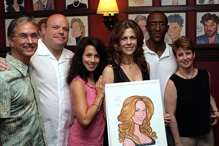 Rob Fisher, Kevin Chamberlin, Donna Marie Asbury, Rita Wilson, Gregory Butler, and Leslie Stifelman at Rita Wilson Caricature Unveiled at Sardi's