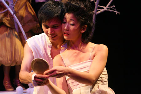 Alexis Camins (Azor) and Jennifer Chang (Egle) at Off-Broadway's The Dispute
