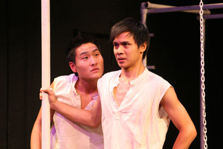 Lanny Joon (Mesrin) and Alexis Camins at Off-Broadway's The Dispute