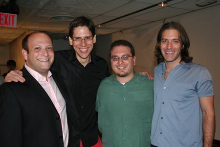 Isaac Hurwitz, Sammy Buck (NYMF Common Ground, Writer), Dan Acquisto (NYMF Smoking Bloomberg, Percussionist) and David Cornue (NYMF Smoking Bloomberg, Writer)  at Opening Night Back-to-NYMF Pep Rally