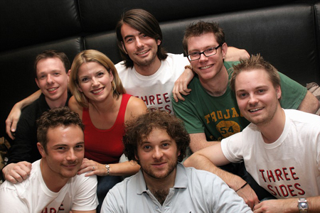 Back: Chris Huntley, Caroline Sheen, Jon-Paul Hevey, and Grant Olding (composer); Front: Mark McGee, Tim Godwin, and Mark Collins at Fifth NYMF Concert