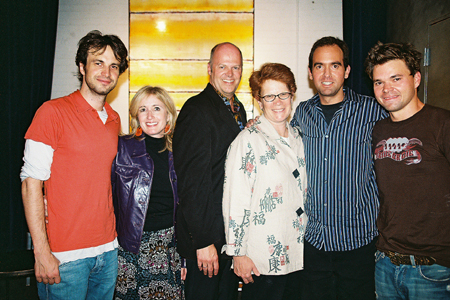 Daniel Goldfarb (Book), Paula Herold (Producer), Randy Adams (Producer), Sue Frost (Producer), David Kirshenbaum (Music & Lyrics) and Hunter Foster at NYMF's Party Come Here Opens