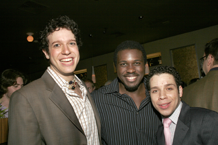 Dan Kohler (Jesus), Joshua Henry (Judas) and Robin DeJesus at Paper Mill Godspell Opening Night Party