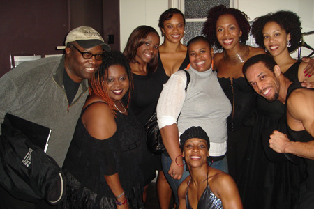 Francesca Harper with Jamal Story, Kemba Shannon, Maia Wilson, Saycon Sengbloh, and Jackie Arnold, and Krisha Marcano at Francesca Harper's Modo Fusion Lounge
