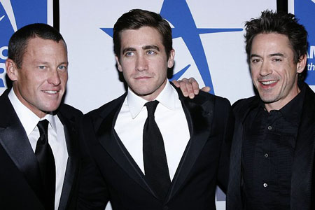 Lance Armstrong, Jake Gyllenhaal and Robert Downey Jr. at Americans for the Arts National Arts Gala