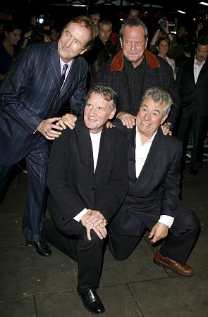(top) Eric Idle and Terry Gilliam; (bottom) Michael Palin and Terry Jones at Spamalot London Gala Opening