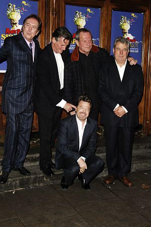 Monty Python's Eric Idle, Michael Palin, Terry Gilliam and Terry Jones with comedian Eddie Izzard at Spamalot London Gala Opening