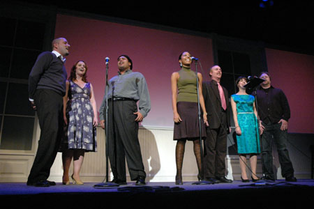 The Cast of the WorkShop's new musical Liberty (in alphabetical order): Paul Aguirre, Alexandra Devin, Cheryl Dowling, Peter Farrell, Richard Kent Green, Mark L. Smith and Nedra McClyde as Liberty  at Daytime at Nighttime Benefit
