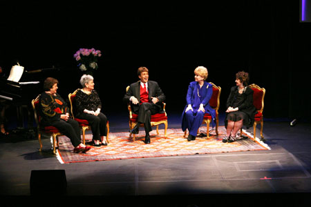 MGM panel--Patricia Marshall-Gelbart, Gloria DeHaven, Debbie Reynolds and Margaret O'Brien flank host Paul Ryan at June Allyson Tribute in L.A.