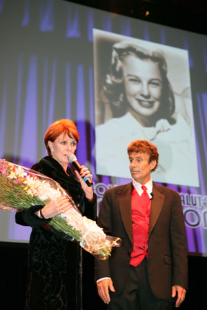 Tribute Producer Karen Cadle and Host Paul Ryan thank the audience to attending at June Allyson Tribute in L.A.