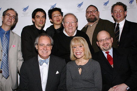 Back: Stephen Kaplin, Ruppert Bohle, Anita Yavich, Michael Yeargan, Allen Moyer, and William Ivey Long; Front: Doug Leeds, Sondra Gilman, and Jeffrey Jenkins at ATW Celebrates Hewes Award Winners
