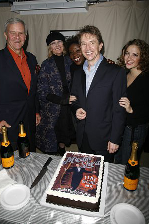 Tom Brokaw, Diane Keaton, Capathia Jenkins, Martin Short and Donna Vivino at Fame Becomes Me's 100th Performance