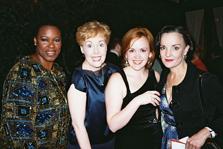 Kecia Lewis-Evans,  Georgia Engel, Andrea Chamberlain,and Jennifer Smith at NYMF Awards Gala