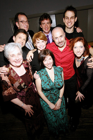 Back: Ted Spurling, Mark Johannes, and Brendan Millburn; Middle: Greg Schaffert, Amy Danis, Gene Lewin, and Valeria Vigoda; Front: Nancy Gibbs and Rachel Sheinken at Striking 12 Opens Off-Broadway