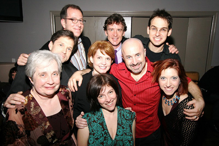 Back: Ted Sperling, Mark Johannes, and Brendan Millburn; Middle: Greg Schaffert, Amy Danis, Gene Lewin, and Valeria Vigoda; Front: Nancy Gibbs and Rachel Sheinken at Striking 12 Opens Off-Broadway