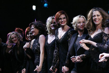 A line-up of Roxies: Ashlee Simpson, Bianca Marroquin, Karen Ziemba, Melanie Griffith, Brooke Shields, Charlotte D'Amboise and Rita Wilson at Chicago Gala Curtain Call and Party