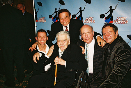 Up top: Legendary Composer Richard M. Sherman, Bottom Row: George Stiles, Legendary Composer Robert B. Sherman, Julian Fellowes and Anthony Drewe at Mary Poppins Press Reception