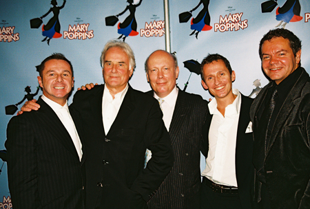 Stephen Mear, Richard Eyre, Julian Fellowes, George Stiles and Anthony Drewe at Mary Poppins Press Reception