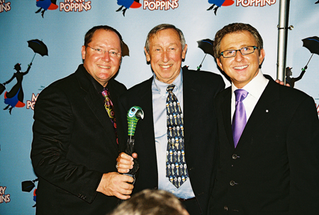 John Lasseter, Roy E. Disney (Disney legend and nephew of Walt Disney) and Thomas Schumacher (Producer) at Mary Poppins Press Reception