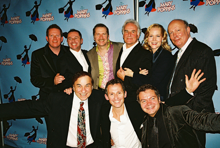Top Row: Matthew Bourne (Co-Director / Choreographer), Stephen Mear (Co-Choreorgrapher), Daniel Jenkins, Richard Eyre (Director), rebecca luker, Julian Fellowes (Book Writer); Bottom Row: Legendary Composer Richard M. Sherman, George Stiles (Composer) and at Mary Poppins Press Reception