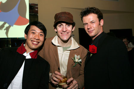 Ensemble members Kevin Samual Yee, Case Dillard, and Nicolas Dromard at Mary Poppins Opening Night Dinner Party