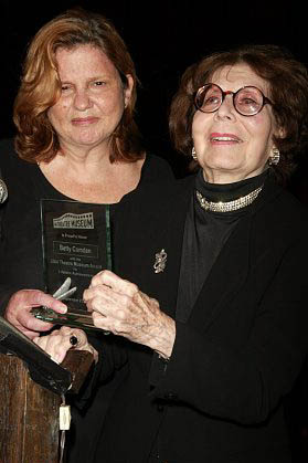 Wendy Wasserstein presents Betty Comden with The Lifetime Achievement Award at The Theatre Museum's Awards for Excellence at the Historic Players Club of Gramercy Park in New York City, September 27, 2004 at Photo Tribute: Betty Comden