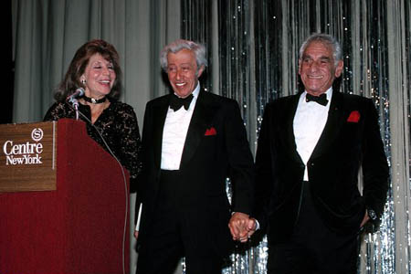 Betty Comden, Adolph Green and Leonard Bernstein attending a gala at the Sheraton Center Hotel in New York City, October of 1983 at Photo Tribute: Betty Comden