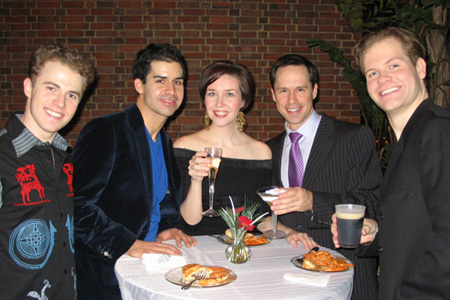 Matt Kirk, Denis Rambert, Jennifer Mathie, James Patterson and J. Austin Eyer at White Christmas Opens in St. Paul