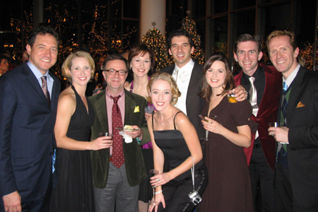 Kevin McCollum (Producer), Melissa Lone, Paul Blake (Producer), Cara Kjellman, Kelly Sheehan (front), Kevin Worley, Melissa WolfKlain, Matthew J. Kilgore and Jeffry Denman (Phil Davis) at White Christmas Opens in St. Paul