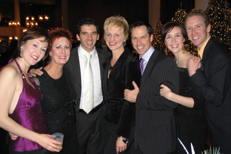 Cara Kjellman, Ruth Williamson, Kevin Worley, Kelli Barclay, James Patterson, Jennifer Mathie and Colin Bradbury at White Christmas Opens in St. Paul