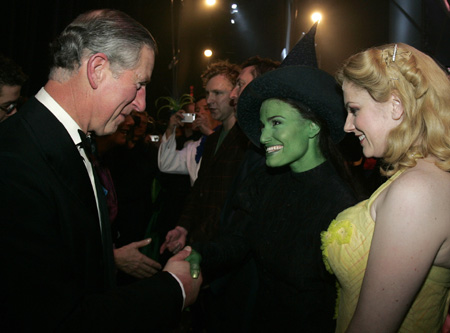 Prince Charles, Idina Menzel and Helen Dallimore at London 'Wicked' Royal Variety Performance