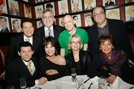 Back: (L to R) Michael Feinstein, Fred Rappoport, Charles Busch and Roger Friedman; Front: (L to R) Terrence Flannery, Michele Lee, Julie Halston and Beverly Camhe at Michele Lee Sardi's Caricature Unveiled
