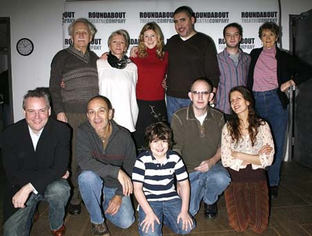 (Bottom row) Doug Hughes, Edward Hajj, Patrick Henney, Max Baker, Jessica Hecht; (Top row) Alvin Epstein, Elizabeth Franz, Charlotte Parry, Alfred Molina, Euan Morton and Gillian Lane-Plescia at Howard Katz Meet and Greet