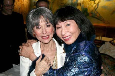 Rita Moreno and novelist�Amy Tan at Rita Moreno Opens at the Cafe Carlyle