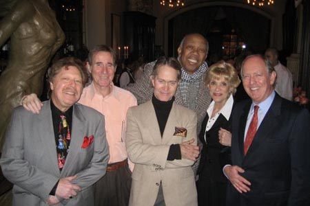 Robert R. Blume, Jim Dale, Steve Ross, Geoffrey Holder, Margot Astrachan, Peter Felix (President, St. George's Society of New York) at St. George's Society National Arts Club Event