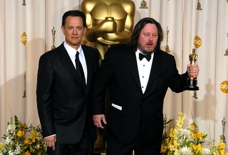 Tom Hanks and William Monahan (Best Adapted Screenplay for The Departed) at 79th Annual Academy Awards