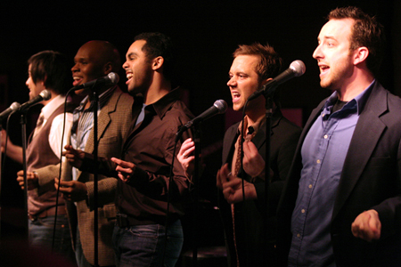 Daniel Torres, Michael James Scott, Jesse Nager, Danny Calvert and Peter Matthew Smith at The Broadway Boys at Birdland