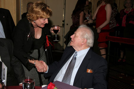 Event Producer Nelle Nugent greeting Charles Durning at AADA Honors Bancroft, Durning and Rowlands