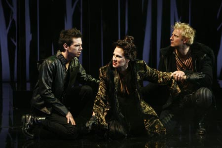 David L. Townsend as Chiron, Valerie Leonard and Ryan Farley as Demetrius at Titus Andronicus in D.C.