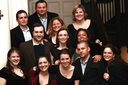 Bottom row left to right: Kimberly Stern, Stacy Pershep, Julia Haubner Smith, Peter Smith, Betsy Werbel; Middle Row: Michael Barra, Katie Dietz, Cat McKenzie; Top Row: Zach Shaffer, Vin Paolozzi, EJ Levy and Bridget Everett  at Vegas in Gotham Benefit